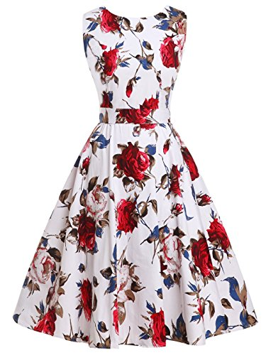 FAIRY COUPLE 50s Retro Blumen Cocktail Schwingen Party Kleid mit Bogen DRT017(2XL,Blaues Rot mit...