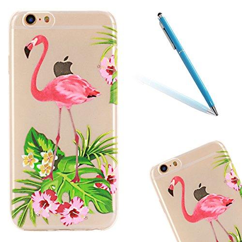 Gel Handyhülle Cover für iPhone 6/6S,CLTPY [Kratzfeste] [Stoßfest] Transparent Klar Malerei Muster Design TPU Bumper Etui Case für iPhone 6/6S,Ultra Dünn Super Leicht [Perfekt Passen] Soft Silikon Sch Flamingo