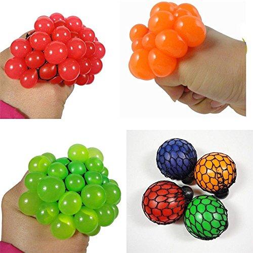 ICYANG 3 Stücke Anti Stress Ball Soft Rubber Grape,Mesh Squeeze Autismus Stimmung Relief Lustige Heikle Spielzeug Zufällige Farbe