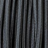 Câble électrique revêtu de tissu coloré Noir ronde 3 x 0,75 pour Lampadaires lampes-abat jour design. Made in Italy ! 50 metri