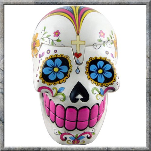 Day of the Dead Sugar Skulls White Trinket Box by Nemesis Now