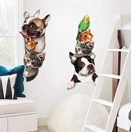 Cchpfcc Cartoon Pet Katze Hund Voyeur Tür Aufkleber Kindergarten Baby Kinderzimmer Dekoration Poster 3D Pvc Wasserdichte Kühlschrank Aufkleber