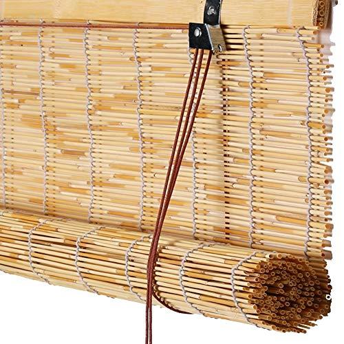 Koovin Bambusrollos, Vorhang aus Schilf, Strohjalousien im Retro-Look, wasserdichte Mehltau-Raffrollo für Innen/Außen/Fenster, anpassbare Größe