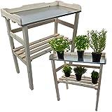 Pflanztisch / Gartentisch 82 x 78 x 38 cm FSC® zertifiziertes Holz imprägniert verzinkte Arbeitsfläche, Farbe:Weiß
