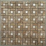 Naturstein Matte Fliesen 30x30 cm 8 mm Crema Mosaik Braun Beige Mix Marmor M519