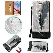 Coque Etui pour Samsung Galaxy S6, Cozy Hut [3D Crystal Coeur Imprimé] Housse Etui à Rabat de Protection en Cuir Véritable pour Samsung Galaxy S6 / G9200 5,1 Pouces, Style de Portefeuille avec Porte-cartes, Fermeture Magnétique et Fonction Support - plume