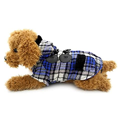 ZUNEA Small Dog Clothes Winter Dog Coat Plaid Toggle Hooded