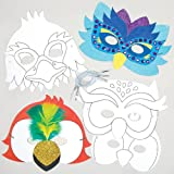 Masques oiseaux à colorier que les enfants pourront fabriquer et décorer - Kit de loisirs créatifs pour enfants - Accessoire idéal pour les fêtes costumées (Lot de 6)...