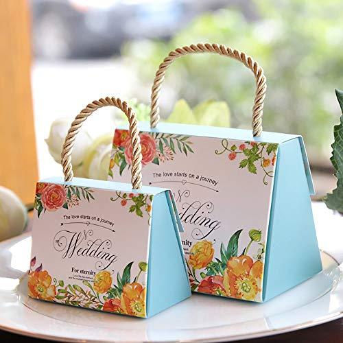 Lvcky, set da 30 scatole per confetti, motivo floreale, per bomboniere da matrimonio, con manico, in carta, decorative blue(blue )