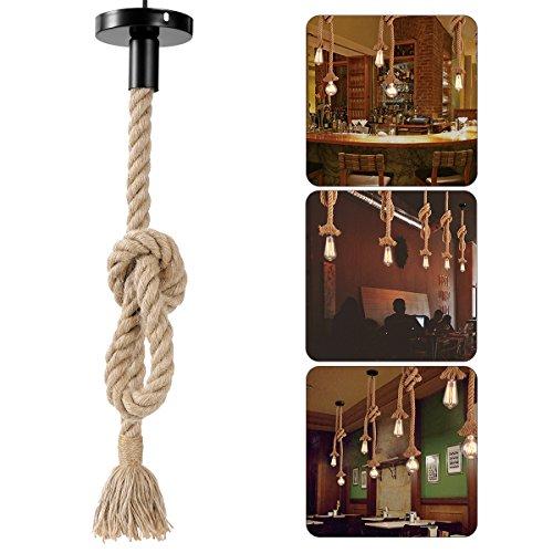LEDMOMO Lámpara de cuerda de cáñamo, colgante colgante de época Lámpara de techo Lámpara de estilo industrial de estilo rural Restaurante Bar Cafetería Iluminación (bombillas no incluidas) 1M