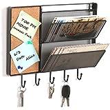 Noir en maille filet de fixation murale en métal à suspendre Rack/Trieur de courrier W/tableau en liège et 5crochets à clés–MyGift®