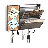 Noir en maille filet de fixation murale en métal à suspendre Rack/Trieur de courrier W/tableau en liège et 5crochets à clés