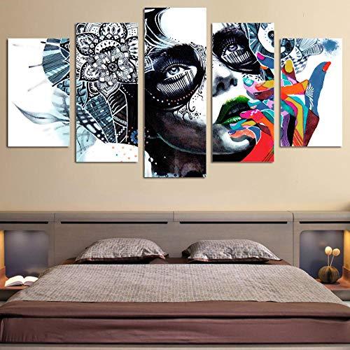 Decor Art HD Drucken Malerei Auf Leinwand Kunstwerke Rahmen 5 Stücke Abstrakte Mädchen Maske Poster Modulare Bilder-8 x 14/18/22inch,Without frame ()
