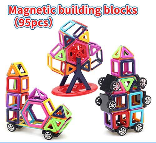 JRing Magnetische Bausteine, Magnetische Bauklötze Set,DIY Magnetische Bausteine 3D Lernspielzeug, Magnetische Konstruktionsbausteine Kleinkinder ab 3 Jahre (95 Stück) (Bausteine Kleinkinder Für Magnetische)