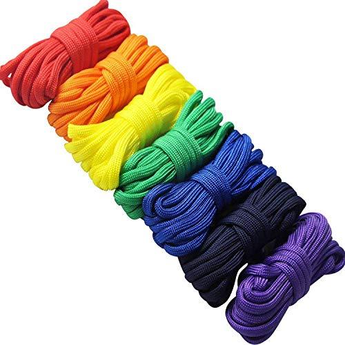 Imagen de 7 piezas arcoiris cuerda paracord set ideal para el aire libre, camping, trenzar pulseras y llavero alternativa