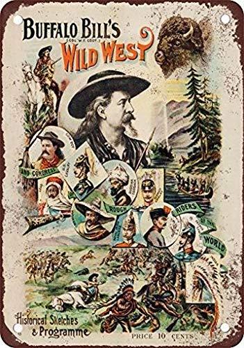 Fsdva 8x12 Metall Blechschild 1896 Buffalo Bill's Wild West Show Vintage Look Reproduktion Retro Dekor (West Bills Wild Buffalo)