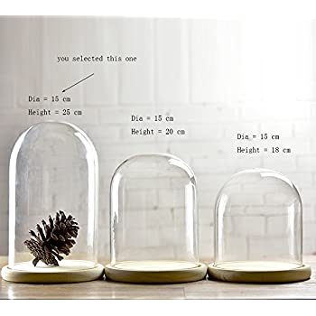 Regular glass cloche bell jar dome with bamboo tray by lights4fun kitchen home - Cloche en verre hauteur 40 cm ...