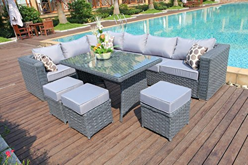 Yakoe 9 seater papaver range rattan garden furniture for 9 seater sofa set