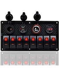 8Gang 12V-24V Interrupteur à bascule Panneau double USB prise de courant Voltmètre numérique allume cigare Fxc Car/remorque/bateau marine (Rouge)