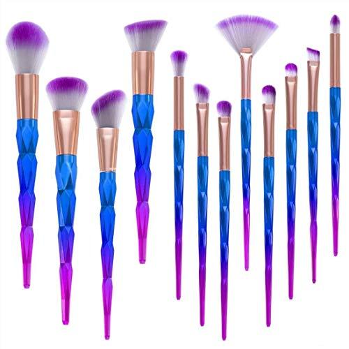12 Stück Make Up Pinsel Set Kosmetik Pinsel Lidschatten Gesichtspinsel Foundation Eyeliner Schminkpinsel