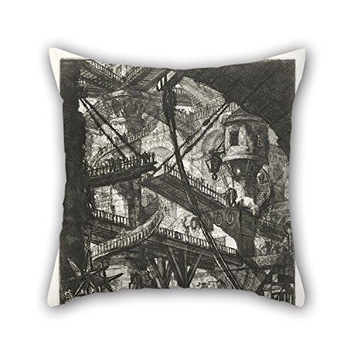 Plaid Pony Shirt (elegancebeauty Ölgemälde Giovanni Battista Piranesi–Die Zugbrücke, Teller VII aus der Serie CARCERI (D 'invenzione kissenrollen Best für Bar Sitz GF Innen-Geburtstag Kaffee Haus Couch 20x 20)