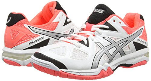 Asics Gel-tactic, Chaussures de Volleyball Femme Blanc (white/silver/flash Coral 0193)