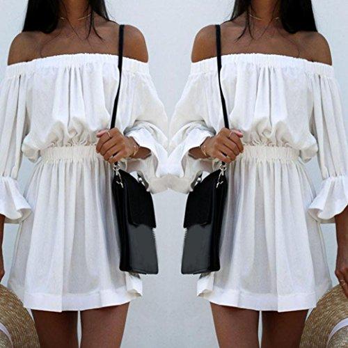 Minetom-Donne-Estivi-Eleganti-Camicia-Vestito-Corto-Di-Colore-Solido-Senza-Spalline-Maniche-34-Vestiti-Di-Parola-Abito-Da-Moda-Casual-Partito-Mini-Dress