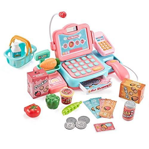 Freedomanoth Elektronische Kasse Spielzeug Supermarkt Registrierkasse Mit Scanner Für Kinder Kassenstation Rollenspiel Kaufladenzubehör Für Mädchen