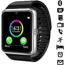 "LaTEC Reloj inteligente de pulsera, con Bluetooth, cámara, ranura para SIM y ranura para tarjeta micro SD, podómetro, pantalla táctil LCD de 1.54"", Reloj inteligente de pulsera para Smartphones de Android (Plata)"