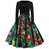 TianWlio Weihnachten Kleider Damen Frauen Weihnachtskleid Kleid Swing Taille Slim Cocktailkleid Retro Schwingen Party Partykleid Christmas Dress Grün L