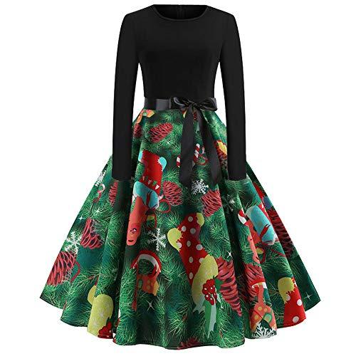 OverDose Damen Frohe Weihnachten Stil Frauen Vintage Print Langarm Weihnachten Abend Party Cosplay Elegante Slim Swing Kleid Geschenk(X-Grün,S)