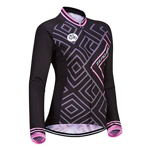 Frauen Langarm Radtrikot Outdoor Sports Slim Fit Full Zip atmungsaktiv und schnell trocknend