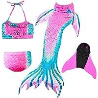 Traje de Baño para Niñas con Cola de Sirena y Cola de Sirena para Natación, Colorido Traje de Baño de Princesa y Bikini con Monofín (4 Piezas)