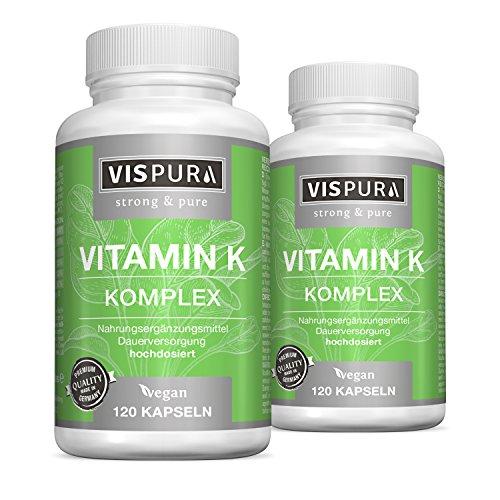 2 Dosen Vitamin K Komplex hochdosiert K1 1.000 µg + K2 Menaquinon (1.000 µg MK4 + 200 µg MK7) 2x 120 Kapseln VEGAN beste Bioverfügbarkeit ohne Trennmittel Magnesiumstearat 30 Tage kostenlose Rücknahme