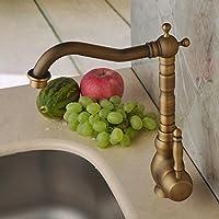 Hiendure® Latón de Lujo antiguo orificio de larga curva Boquilla grifo de la cocina baño grifo