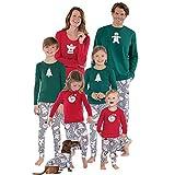 Weihnachten Schlafanzug Familien Outfit Mutter Vater Kind Baby Pajama Langarm Nachtwäsche Santa Print Sleepwear Casual Xmas Rundkragen Langarmshirt Oberteile Top Hose Set von Innerternet