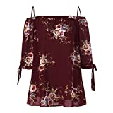 Geili Mode Damen Sommer Schulterfrei Oberteile T Shirt Plus Size Blumendruck Bluse Casual Tops Camis