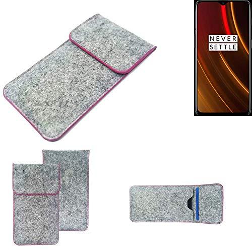 K-S-Trade® Filz Schutz Hülle Für -OnePlus 6T McLaren Edition- Schutzhülle Filztasche Pouch Tasche Case Sleeve Handyhülle Filzhülle Hellgrau Pinker Rand