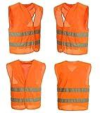 4 Warnwesten Sicherheitsweste Set Warnweste ORANGE | Atmungsaktiv |360 Grad Reflektierende Schutz Weste Prowiste®