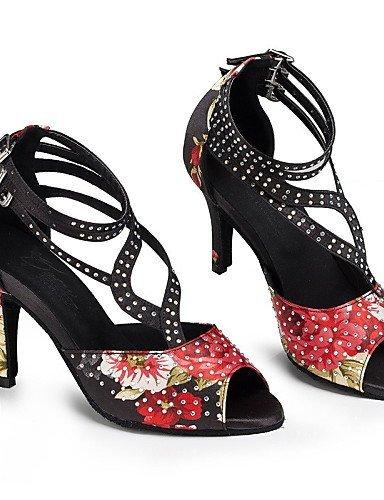 ShangYi Chaussures de danse ( Autre ) - Non Personnalisables - Talon Cubain - Cuir / Cuir Verni - Latine / Jazz Red