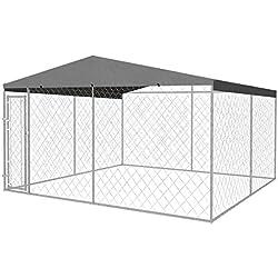 Festnight Hundezwinger Hundehütte Hundehaus aus Stahl mit Überdachung 400 x 400 cm