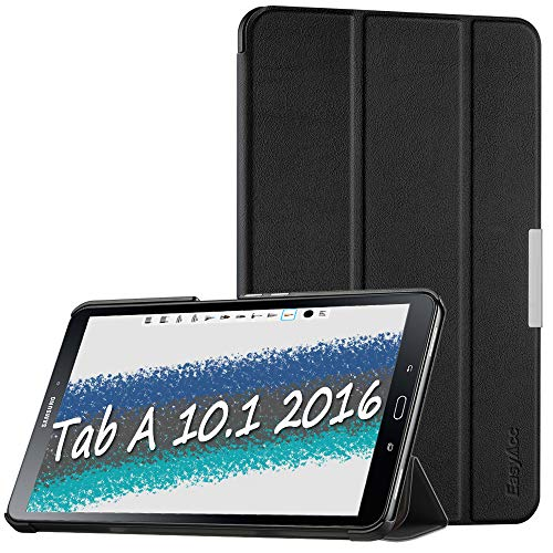 EasyAcc Ultra Dünn Hülle für Samsaung Galaxy Tab A 10.1 2016, mit Standfunktion und Auto Sleep/Wake Up Funktion Slim Leder Case Perfekt kompatibel für Galaxy Tab A 10.1 Zoll T580/ T585, Schwarz (4-tablet-cover Tab)