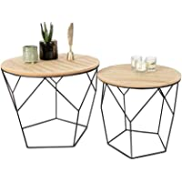 LIFA LIVING Table Gigogne Bois et Metal Ronde, Table Basse Design Bois en Lot de 2, Petite Table Basse Gigogne Scandinave, Tables d'Appoint pour Salon