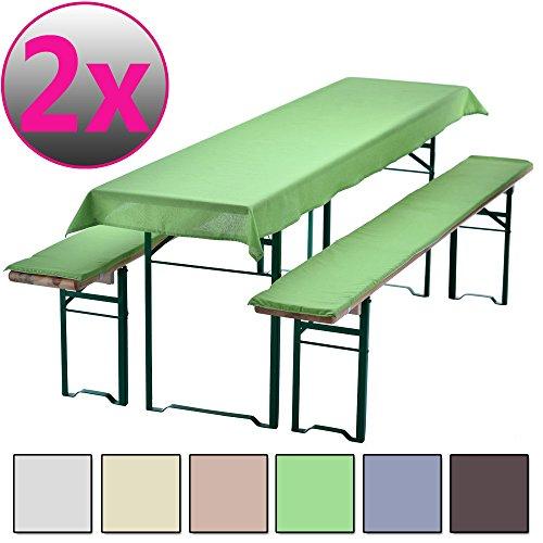 PROHEIM Pack x2 Uni-Set Nappe pour Table de braserie 240 x 70 cm (pour Longueurs de 220 x et largeurs de 50 cm) + 2 Coussins d'assise matelassés 220 x 25 cm, Couleur:Vert