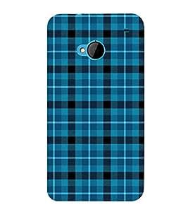 Fiobs Designer Back Case Cover for HTC M7 :: HTC One M7 (Blue Checks Lines Square Black)