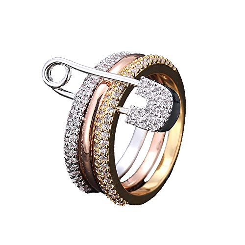Zounghy Tricolor Gold Plated Ring Set, Schmuck für Frauen, stapelbar Ringe Büroklammer Ring Ring Set Gold/Silber/Rose Gold Ring. (Paper Clip Schmuck)