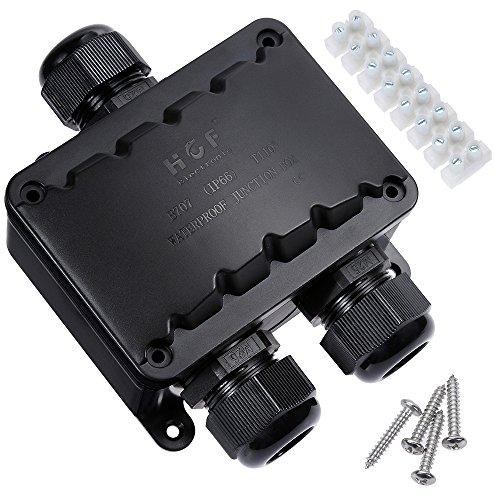 Rovtop IP66 Abzweigdose wasserdicht Kabelverbinder größere 3-Wege-Verbindungsdose Erdkabel elektrischer Außenverteilerdose M20 Kabelverschraubung Ø 9mm-16mm 8 Anschlüsse (ABS + PVC) Schwarz -