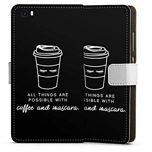 DeinDesign Huawei P8 lite (2015-2016) Tasche Leder Flip Case Hülle Mascara Kaffee Spruch