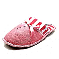 SendIt4Me Ladies Pink and White Slip on Comfy Soft Towelling Slippers