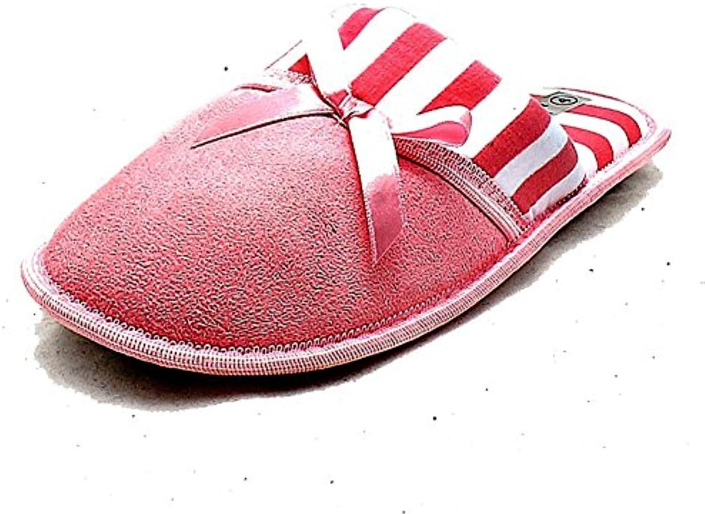 SendIt4Me Damas rayas Cuff Slip On Comfy suave felpa zapatillas